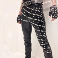Nightclub DJ singer vintage punk rock rivet leather pants hip hop stage costume mens casual slim joggers motorcycle trousers
