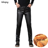 Idopy PU Faux Leather Pants Men Windproof Waterproof Motorcycle Biker Business Male Trousers Stretchy Leather Slim Fit Plus Size