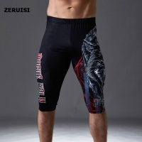 Compression Leggings Knee Pads Men's Running Pants Gym Fitness Sportswear Jogger Training Yoga Pants for Men Cropped Trousers