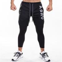 2019 new Sweatpants men's quick dry breathable false 2 pieces of nine-point pants outdoor running fashion fitness Tight trousers