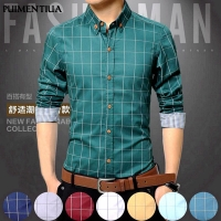 Puimentiua 5XL Plaid Printed Long Sleeve Formal Men Shirt Turn-down Collar Male Business Dress Fashion Patchwork Shirts Tops
