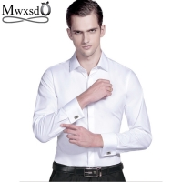 Mwxsd high quality French Men Tuxedo Dress Shirt Mens silk cotton formal wedding Shirt long sleeve solid male slim Fit shirt