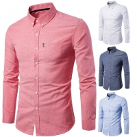Spring Long Sleeve Formal Shirt For Men Solid Slim Basic Turn-down Collar Business Dress Shirts Camisas Masculina camisas hombre