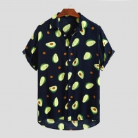 Fluorescent Color Men Shirt Summer High Quality Breathable Hawaiian Shirt Camisa Masculina Brand Casual Male Printed Plus Size