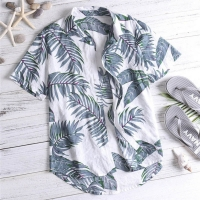 Casual Mens Beach Hawaiian Shirts Cotton Floral Mens Printed Hawaiian Loose Beachwear Short Sleeve Casual Buttons Shirt