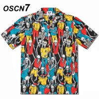 OSCN7 2019 Casual Printed Short Sleeve Shirt Men Street Summer Hawaii Beach Women Short Sleeve Shirts Harujuku Mens CS005
