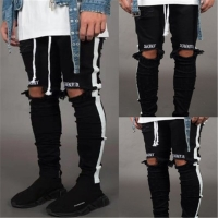Jeans Men Brand Stylish Embroidery Ripped Jean Pants Biker Skinny Slim Straight Frayed Denim Trousers Hip hop Skinny Jeans Male