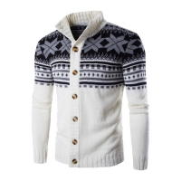 Mens Cardigan Sweaters Autumn Warm Christmas Sweater Men Fashion Printed Jacket Coat Casual Stand Collar Knitting