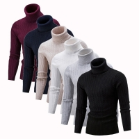 2019 High Quality Warm Turtleneck Sweater Men Fashion Solid Knitted Mens Sweaters Casual Slim Pullover Male Double Collar Tops