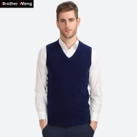 Brother Wang Business Casual Knitted Vest Male 2019 Autumn Winter New V Collar Cotton Pullover Slim Sweater Mens Black