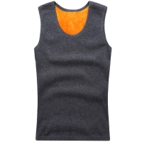 New fashion men's warm sweater vest plus velvet thick wide shoulder thermal underwear men's vest round neck sweater stretch Slim