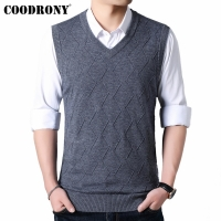 COODRONY Mens Sweaters 2019 Autumn Winter Sweater Men V-Neck Sleeveless Vest Pull Homme Knitted Cashmere Wool pullover men 91017