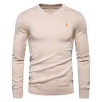 2019 Autumn Winter Brand Quality 100% Cotton Mens Sweaters V Neck Pullovers Men Solid Embroidery Sweater Men