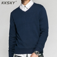 Men's Pullover V-neck 100% Cotton Solid Color Sweater 2019 Autumn And Winter New Long-sleeved Casual Sweater For Homme M-3XL