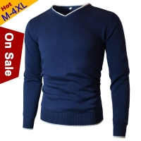 MuLS Cotton Sweaters Men V-Neck Mens Sweater Pullovers Jersey Jumper Autumn Winter 4XL Knitwear Male Dress 2019 New