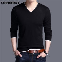 COODRONY Mens Sweaters 2019 Spring Autumn Cashmere Cotton Sweater Men Knitwear Shirt Pull Homme Casual V-Neck Pullover Men 91012