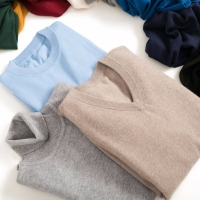Men's Sweaters Cashmere Blend Knitting V-neck Pullovers Hot Sale Spring&Winter Male Wool Knitwear High Quality jumpers Clothes