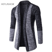 HEFLASHOR Men Patchwork Sweater Fashion Pattern Design Korean Style Long Sleeve Male Cardigan Sweater Slim Fit Casual Sweater