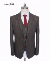 Custom Made Woolen dark brown Herringbone Tweed British style Mens suit tailor slim fit Blazer wedding men suit 3pcs