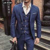 ( Jacket + Vest + Pants ) New Fashion Boutique Men's Plaid Formal Business Suit 3 Piece Set / Men's High-end Casual Suits