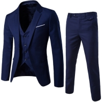 HEFLASHOR Men's Fashion Slim Suits Business Casual Clothing Groomsman three-piece Suit Blazers Jacket Pants Trousers Vest Sets
