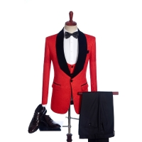 Fnoexw  Customized 2019 Red Groom Tuxedos Wedding Party Suit business Groomsman Suit mens wedding suits ( jacket+Pants+vest+tie)