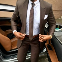 2019 Latest coat pants designs Brown men suit Slim fit elegant tuxedos Wedding business party dress Summer jacket+pants terno