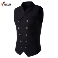 Hot Sale Mens vests And waistcoats Slim Masculino Cotton Double Breasted Sleeveless Jacket Waistcoat Suit Collar Men Suit Vest
