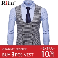 Riinr Men's Classic Party Wedding Paisley Plaid Waistcoat Vest Pocket Square Tie Suit Set Pocket Square Set Spring Autumn