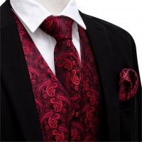 Men V-neck Suit Vest Red Formal Waistcoat Paisley Tie Set Cufflinks Handkerchief for Tuxedo Business Vests Barry.Wang MJ-2001