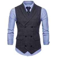Men's Business Sleeveless Suit Vest Lapel Fashion Double-breasted Cotton Plaid Plus Size Grey Casual Slim Fit Vests For Men 4XL