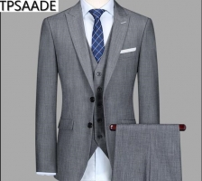 Slim Fit WeddingTuxedos Grey Groom Suits Custom Made Groomsmen Best Man Prom Party Suits Jacket Pants (Jacket+Pants+Vest)