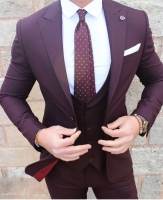 Custom Made Burgundy Men Wedding Suits Peaked Lapel One Button Formal Groom Tuxedos Prom Suits 3 Piece(Jacket+Vest+Pans+Tie)