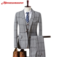 Plaid Suit Plaid Suit Jacket as Groom Tuxedos Check Groomsman Suit Custom Made Man Suit Tweed Man Clothes (Jacket+pants+vest)