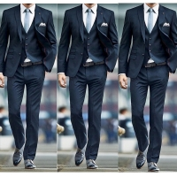 New Fashion 2019 Navy Men Suits for Wedding Groom Tuxedos Classic outfit Man Blazers 3Pieces Groomsmen Wear (jacket+pant+vest)