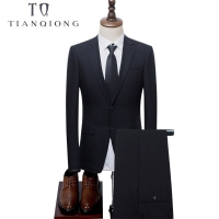 TIAN QIONG Tailor Made Suits Men black 2pcs Peak Lapel Two Button Gentleman Business Suits Set 2018 Latest Leisure Suit