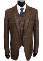 Wool Brown Classic Tweed Custom Made Men suit Blazers Retro gentleman style tailor made slim fit wedding suits for men 3 Piece