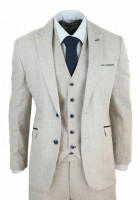 Men's Wool Tweed 3 Piece Vintage Peaky Blinders Suit Cream Retro Classic Custom