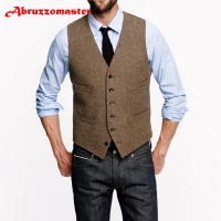 Abruzzomaster Farm Wedding Vintage Brown Tweed Vests Custom Made Groom Vest Mens Slim Fit Tailor Made Wedding Waistcoat
