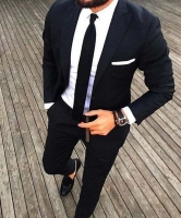 Black Custom Tuxedo Men Suits for Wedding 2Pieces Business Suit Blazer Peak Lapel Costume Homme Terno Party Suits(jacket+pant)