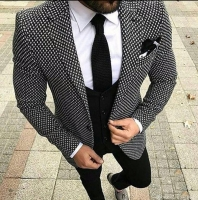 Custom Made Wedding Suit For Men Tailored black Weave Hounds Tooth Check Groom Wear( jacket+pants+vest)