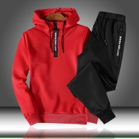 Patchwork Men's Sportswear Sets 2020 Autumn Winter Hooded Thick Male Casual Tracksuit Men 2 Piece Sweatshirt + Sweatpants Set