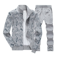 Large size 8XL Tracksuit Men Set Spring Autumn Men Sporting Suit Coat Two Piece Set Sweatsuit Jacket+Pant Print Clothing 2019