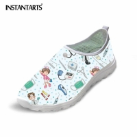 INSTANTARTS Cute Nurse Shoes Women Spring Summer Flats Shoes Cartoon Nursing Light Weight Mesh Shoes Woman Beach Women's Loafers
