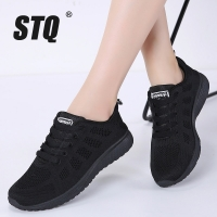 STQ 2020 Spring Sneakers Women Flat Shoes Female Casual Lace-up Breathable Mesh Sneakers Ladies Shoes Women Walking Shoes A08