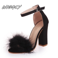 Summer Women Pumps T-stage Fur Buckle Strap Platform Open Toe Dancing High Heel Sandals Sexy Party Wedding Shoes Black mujer s01