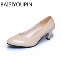 Four Seasons patent leather Low Heels Shoes Women Professional Shoes woman Shallow Mouth Work Shoes Black White Office Shoe