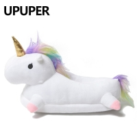 2020 Winter lovely Home Slippers Chausson Licorne White Shoes Women unicorn slippers animals pantuflas unicornio pantoufle femme