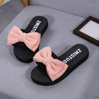Women's bow summer slippers indoor outdoor flip flops beach shoes new fashion women's casual flower slippers chanclas mujer@py