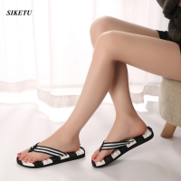 Women Fashion Flip Flops Summer Beach Stripe Shoes High Quality Indoor Outdoor Male Slipper Male Soft EVA Beach Flip Flops L*5